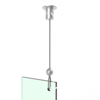 ATTACHE PLAFOND AVEC CABLE FLY LEAN PERLA ALUMINIUM