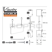 FINESTRA AVANDGARDE > KIT COMPLET DE 2 SUSPENSIONS AU PLAFOND FINITION INOX